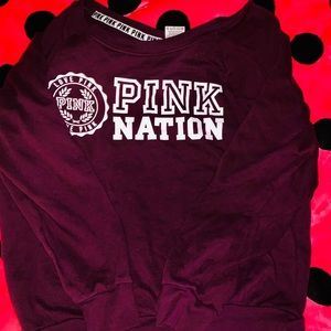 Maroon VS PINK Off the Shoulder Sweater